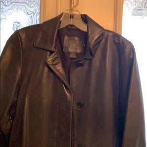 Coach mid trench coat in black leather